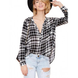 Women Casual Grid V Neck Loose Long Sleeve Shirt Blouse