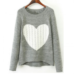 Women Casual Heart Printed Long Sleeve Knitted Pullover Sweater