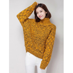 Women Casual High Collar Long Sleeve Loose Pullover Sweater