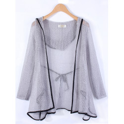 Women Casual Hollow Out Asymmetrical Hem Hooded Knit Cardigan