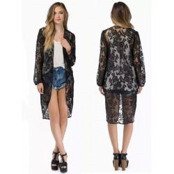 Women Casual Lace Long Sleeve Kimono Lady Fashion Long Cardigan