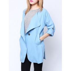 Kvinna Casual Lapel Buttons Vikta Sleeve Lös Blazer Suit