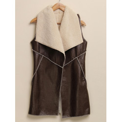 Women Casual Lapel Faux Fur Medium Long Fleece Vest Warm Outwear