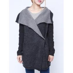 Women Casual Lapel Long Sleeve Pockets Loose Knit Sweater Cardigan