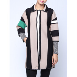Women Casual Lapel Vertical Stripe Patchwork Cardigan Coat