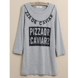 Women Casual Letter Print Three-quarter Sleeve Loose T-shirt