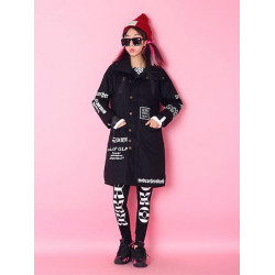 Women Casual Letter Printed Thicken Long Zipper Cotton Coat