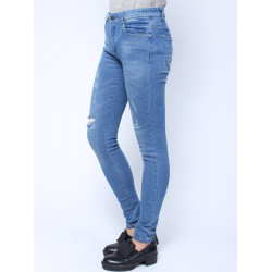 Women Casual Light Blue Klassische Schlank Loch zerrissene Denim Jeans