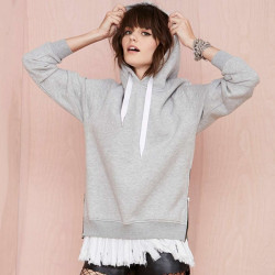 Women Casual Loose Long Sleeve Pullover Slit Hem Hooded Sweatshirts