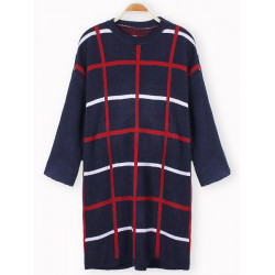 Women Casual Loose Plaid  Knit Pullover Sweater Dress