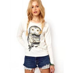 Kvinna Casual Owl Printed Tröja Blus Profilering Pullover Skjorta