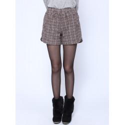 Frauen beiläufige Plaid Taschen elastische Taillen Wolle kurze Hosen