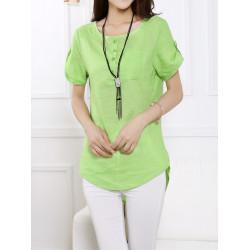 Women Casual Short Sleeve Pockets Irregular Linen T-shirt
