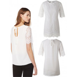 Women Casual Short Sleeve Shirt Fashion Sweetly Chiffon Lace Blouse