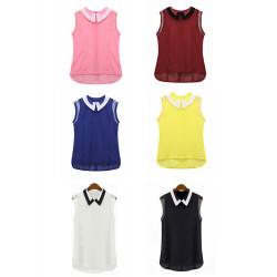 Women Casual Sleeveless Chiffon Vest Turn Down Collar Blouse