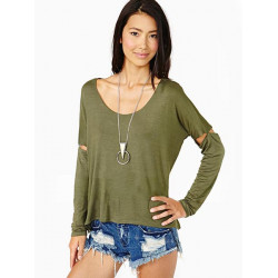Women Casual Slotted Sleeve Patchwork Long Sleeve Loose T-shirt