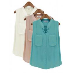 Women Casual Solid Chiffon Sleeveless Shirt Vest