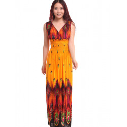 Women Casual Summer Sexy Deep V-neck Patchwork Maxi Long Beach Dress