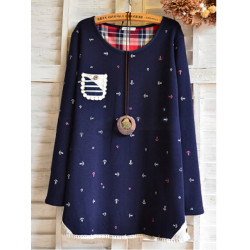 Women Casual Thick Velvet Anchor Pattern Pocket Loose T-shirt