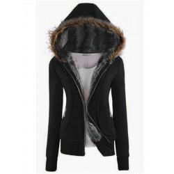 Women Casual Thicken Long Sleeve Fur Hooded Coat