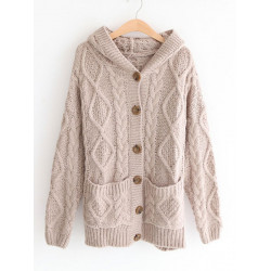 Women Casual Twisted Print Warm Thicken Hooded Cardigan Sweater Coat