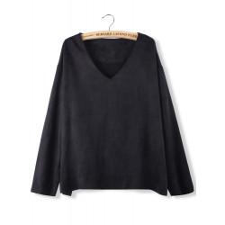 Women Casual V-Neck Long Sleeve Loose Pullover Sweatshirt