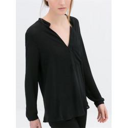 Kvinna Casual V Neck Långärmad Chiffong Skjorta Blus