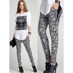 Women Casual Vintage White Pattern Harem Pants Trousers
