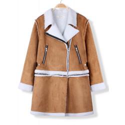 Women Casual Winter Lapel Suede Lamb Woolen Long Sleeve Coat