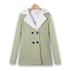 Women Casual Winter Long Sleeve Outwear Double-breasted Wool Coat