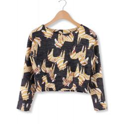 Women Casual Zebra Pattern Long Sleeve Crop Sweatshirt