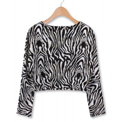 Women Casual Zebra Stripe Back Zipper Long Sleeve Crop Sweatshirt