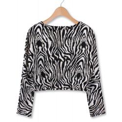 Kvinna Casual Zebra Stripe Back Zipper Långärmad Crop Tröja