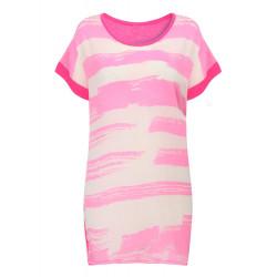 Kvinder Chiffon Stripe Trykt Round Collar Kortærmet T-Shirt