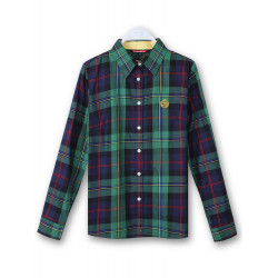 Women Cotton Button Blouse Plaid Turn Down Long Sleeve Shirt