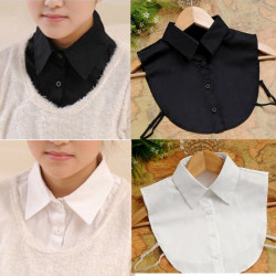 Women Decor Fake Half Shirt Detachable Collar Tie