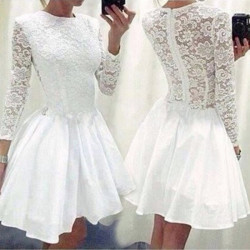 Women Dresses  Lace Short Pleated Slim Hollow Out Patchwork Bodycon Skirt