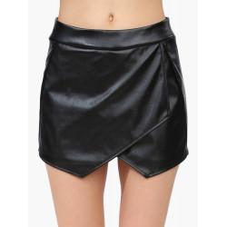 Kvinder Elastic Asymmetrisk Imiteret Læder PU Opdelt Nederdel Korte Bukser