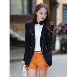 Kvinna Elegant Lutande Zipper Långärmad Slim Suit Blazer
