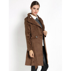 Women Elegant Lapel Long Sleeve Pockets Wool Trench Coat With Belt