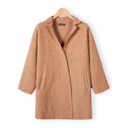 Kvinder Elegant Lapel Lommer Uld Frakke Cardigan Overtøj