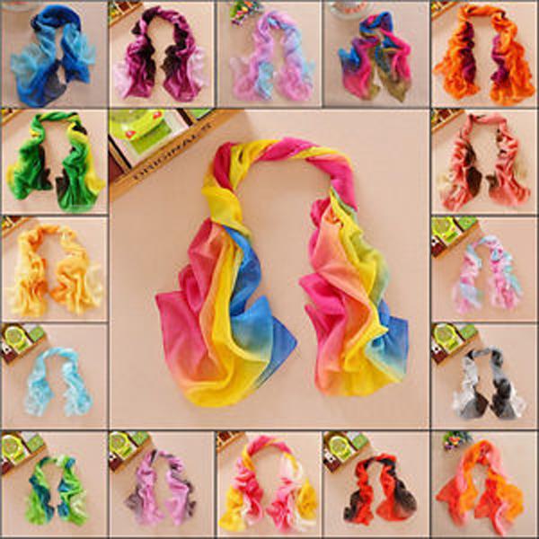 Women Elegant Mix Color Soft Silk Chiffon Wrap Neck Scarf Shawls Women's Clothing