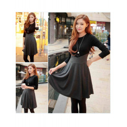 Women Elegant Patchwork Long Sleeve Evening Party Work Dress