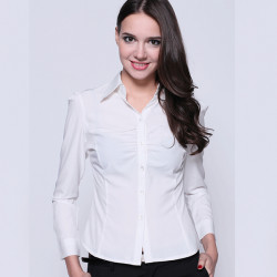 Women Elegant Pure White Shirt Long Sleeve Turn Down Collar Blouse