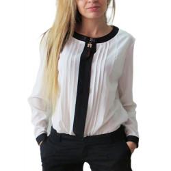 Women Elegant Round Neck Long Sleeve Chiffon Fold Shirt Blouse