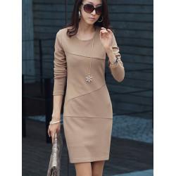 Frauen eleganter runder Ausschnitt Langarm dünnen Arbeits Kleid