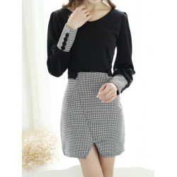 Women Elegant V-neck Houndstooth Long Sleeve Mini Dress