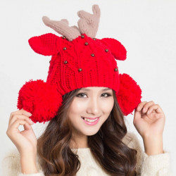 Women Elk Horn Lovely Knitted Winter Ball Beanies Hat