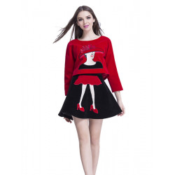 Women Embroidered Velvet Fabric Skirt Red Shirt Black Skirt Suit