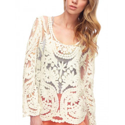 Women Embroidery Floral Lace Crochet Hollow Out Sheer Sleeve T-shirts